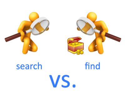 Search vs Find ภาษาอังกฤษ